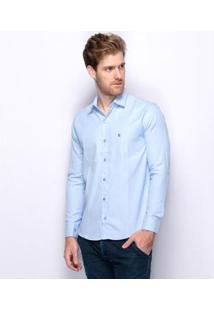 Camisa Social Slim Fit Teodoro Jacquard Algodão Masculina - Masculino-Azul Claro+Azul