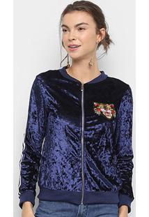 Jaqueta Bomber Lily Fashion Veludo Bordado Tigre Feminina - Feminino-Marinho
