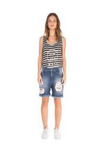Bermuda Comfort Botao Lateral Jeans 34