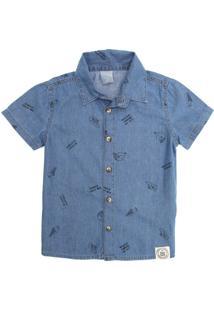 Camisa Hering Kids Infantil Mini Print Azul