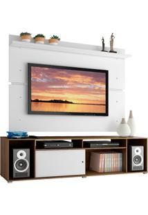 Rack Madesa Cancun E Painel Para Tv Até 65 Polegadas - Rustic/Branco/Branco Marrom