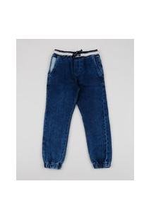Calça Jeans Infantil Jogger Azul Médio