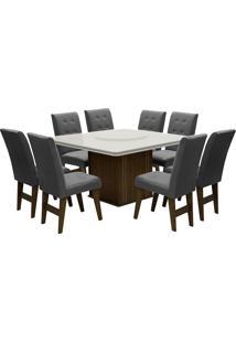 Conjunto De Mesa Para Sala De Jantar Com 8 Cadeiras Esparta-Dobue - Castanho / Branco Off / Grafite