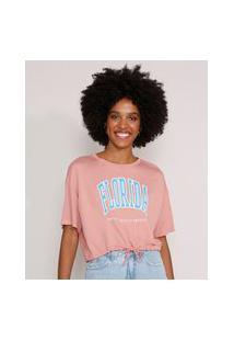 """Camiseta Cropped """"Florida"""" Com Cordão Manga Curta Decote Redondo Rosa"""