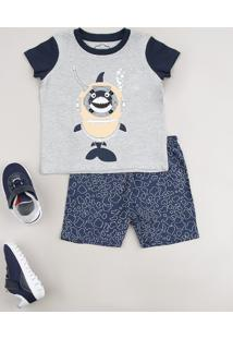 Pijama Infantil Com Estampa Interativa De Tubarão Manga Curta Cinza Mescla