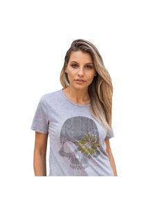 Camiseta Feminina Mirat Caveira Girassol Mescla