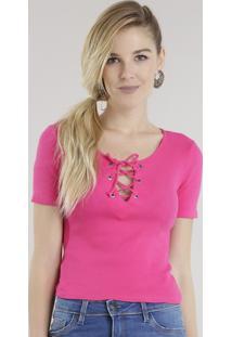 Blusa Cropped Com Trançado Pink