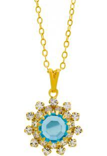 Gargantilha Horus Import Girassol Dourado/Azul