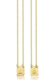Escapulário Banhado A Ouro Sagrado Coração Semijoia Lys Lazuli - Unissex-Dourado
