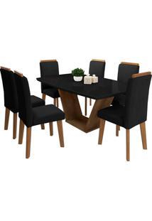 Conjunto Mesa De Jantar Diamante Preto 1,70X0,90 C/ 6 Cadeiras Rv Mã³Veis - Preto - Dafiti