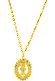 Gargantilha Horus Import Boy Cravejado Zircônia Banhada Ouro Amarelo 18 K - 1061170