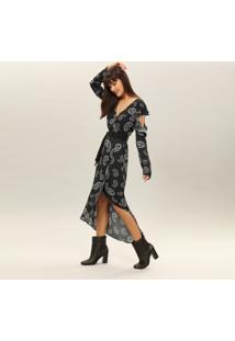 Vestido Mídi Estampado Cinto Tecido Cashmere - Lez A Lez
