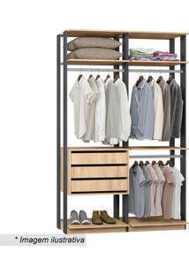 Guarda Roupa Clothes- Carvalho & Espresso- 220X140X4Bentec