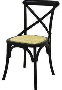 Cadeira Katrina Madeira Assento Em Rattan Cor Preta - 18558 - Sun House