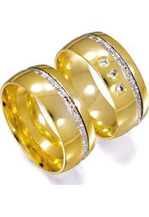 Aliança De Ouro Casamento Lisa Com Diamantes - As0725 + As0743 Casa Das Alianças