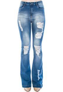 Calça Jeans Flare Destroyed Handbook