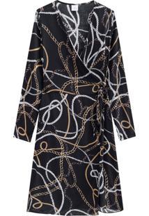Vestido Lecimar Em Viscose Rayon Outono Inverno Manga Longa Preto