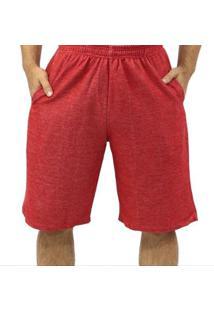 Bermuda Moletom Dpontes Elástico 3 Bolsos Masculina - Masculino-Vermelho Escuro