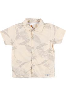 Camisa Manga Curta Infantil - Masculino-Bege