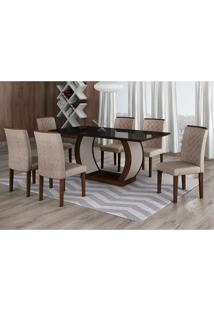 Conjunto De Mesa De Jantar Com Vidro E 6 Cadeiras Maia Ii Suede Amassado Castor E Chocolate