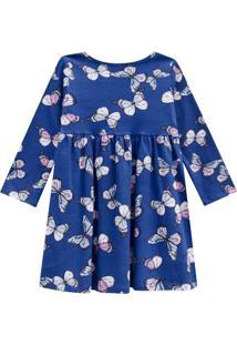 Vestido Kinha Primeiros Passos Em Cotton Outono Inverno 03 Azul Escuro