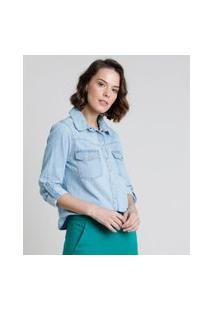 Camisa Jeans Feminina Cropped Com Bolsos Manga Longa Azul Claro