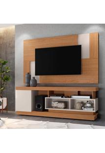 Rack Tijuca Com Painel Para Tv Até 55 Polegadas 1 Porta Delfos Colibri Móveis Natural Real/Off White