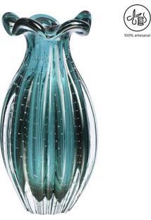 Vaso Texturizado- Incolor & Verde Água- 24Xø12Cmcristais São Marcos