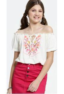 Blusa Juvenil Cropped Ombro A Ombro Estampa Floral Marisa