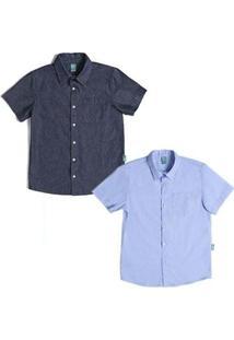 Kit 2 Camisas Infantil Jokenpô Masculina - Masculino-Azul