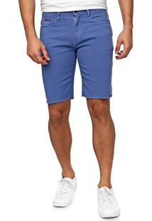 Bermuda Sarja Tommy Jeans Reta Desfiada Azul