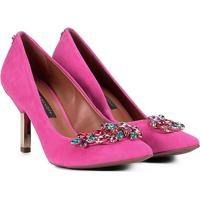 2e596309f5 Scarpin Couro Jorge Bischoff Salto Alto Pedrarias - Feminino-Pink