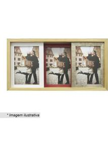 Kapos Painel Slide Para 3 Fotos Marrom Claro & Vermelho 19X38X6Cm