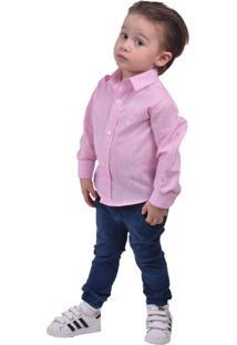 Camisa Social Rosa Infanti Slim - Kanui