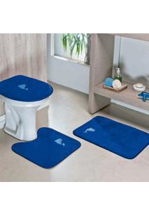 Jogo De Banheiro Dourados Enxovais Golfinho 03 Peças Azul Royal