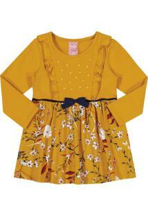 Vestido Kinha Em Cotton Estampado Outono Inverno Amarelo Escuro