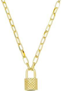 Colar Piuka Betina Cadeado Cartier Folheado A Ouro 18K