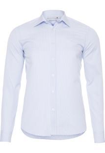 Camisa Masculina Listrada Slim Fit Pima 100/2 - Azul