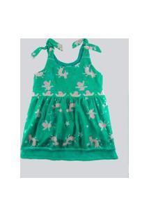 Vestido Infantil Ummi Dança Do Unicornio Em Crepe Verde