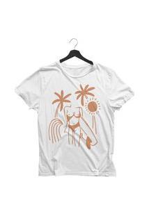 Camiseta Jay Jay Básica Girl Surfing Branca Dtg