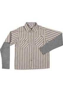 Camisa Infantil Klin Manga Longa Listrada Masculino - Masculino-Amarelo