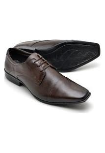 Sapato Social Masculino Em Couro Texturizado Reta Oposta Marrom