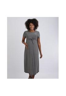 Vestido Feminino Gestante Midi Estampado Com Nó Manga Curta Preto