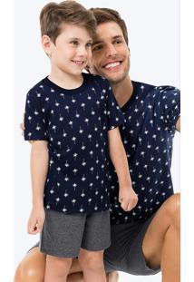 Pijama Azul Marinho Coqueiros Infantil Tal Filho