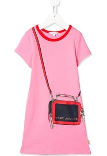 Little Marc Jacobs Vestido Reto Rosa Com Estampa De Logo