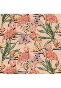 Papel De Parede Adesivo Flamingos E Flores (0,58M X 2,50M)