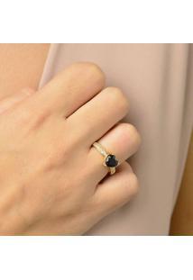 Anel Cravejado Com Micro Zircônias Cristais E Coração Em Pedra Cristal Black Banhado Em Ouro 18K 16