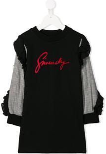 Givenchy Kids Vestido Suéter Com Logo - Preto