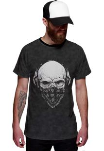 Camiseta Di Nuevo Rock Caveira Com Bandana Preta