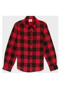 Camisa Xadrez Juvenil Menino Vermelho